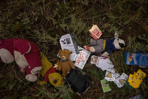 Teddy bears fallen on Malaysia MH17 crash site, Ukraine