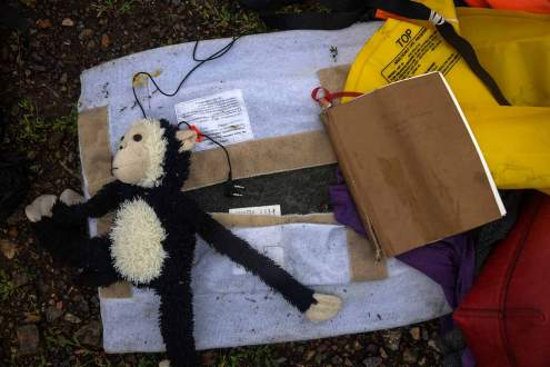 stuffed toy on Malaysia MH17 crash site, Ukraine