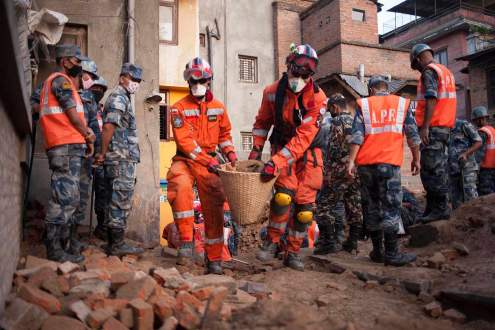 Rescue workers in Pathan, Nepal