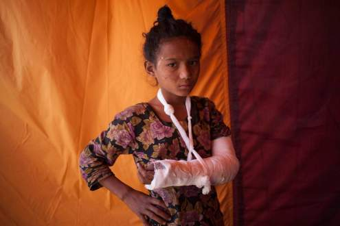 A girl at a medical camp in Kathmandu, Nepal.