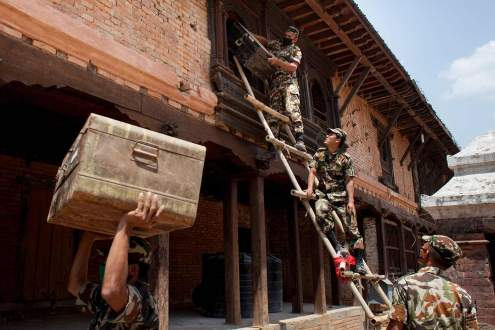 Army rescues antique artworks from a destroyed museum, Nepal