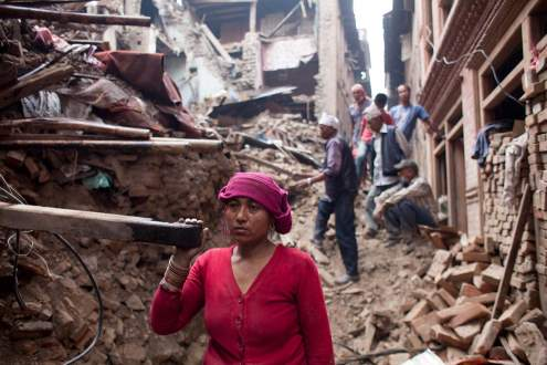 Women are helping for relief following the earthquake, Kathmandu, Nepal
