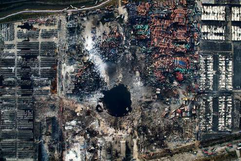 Aerial view of the destruction after the explosion in Tianjin, China