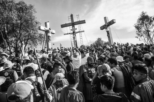 Recreation of crucifixion during holy week in Iztapalapa, Mexico City