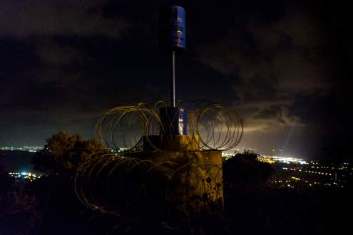 Blue Pillar, symbol-object that mark the boundary line. Israeli