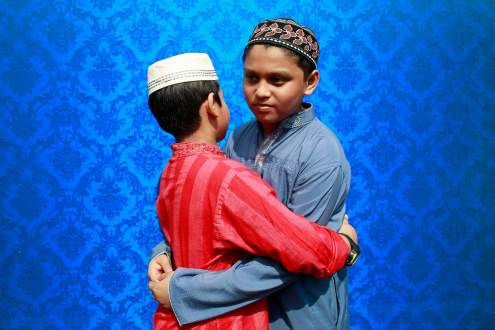 Bangladeshi Muslims offer Eid ul-fitr prayer at Baitul Mukarram mosque
